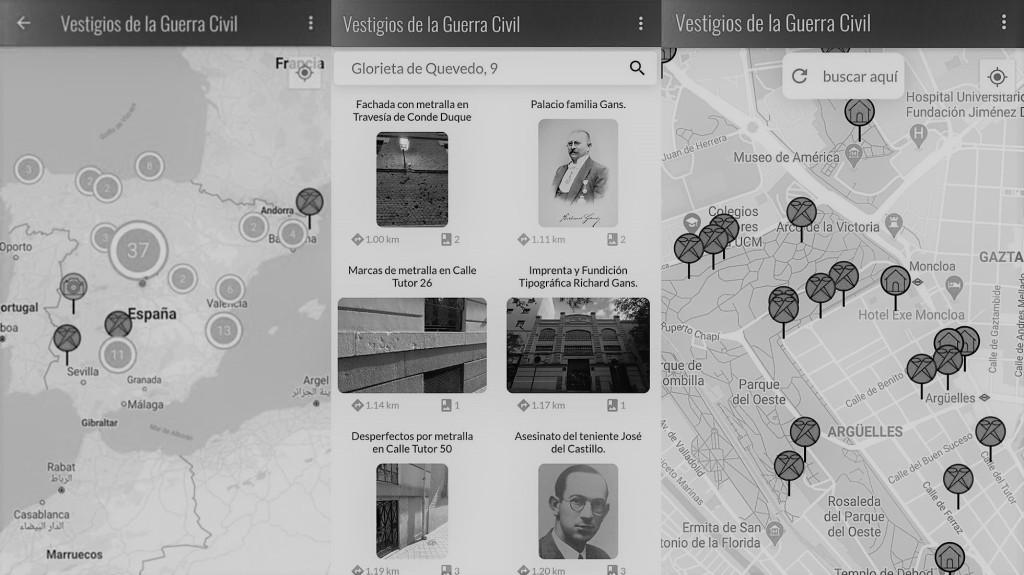 Captura de pantalla app Vestigios de la guerra