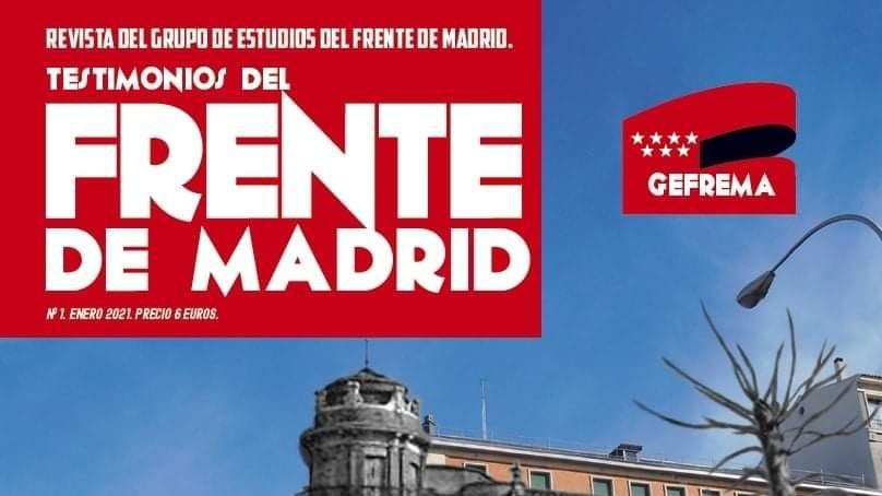 """Portada de la revista """"Testimonios del Frente de Madrid"""" de la Asociación GEFREMA"""